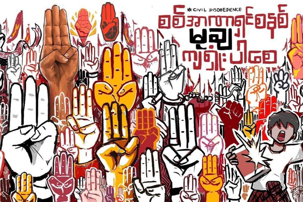 protesta in Myanmar